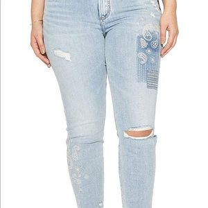 Silver Jeans Co Plus Ankle Skinny Paisley Embroide